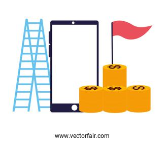 business smartphone stack coins