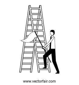 businessman with flag and stairs success