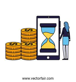 woman smartphone clock money coins