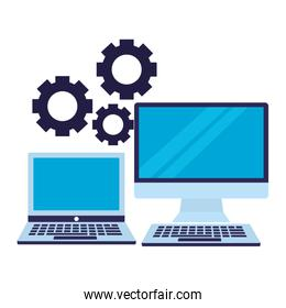 business laptop computer and gears