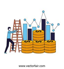 business coins money stairs chart