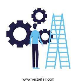 businessman with gears and stairs