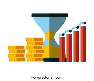 business hourglass chart and coins money