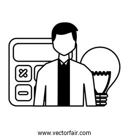 businessman calculator financial bulb