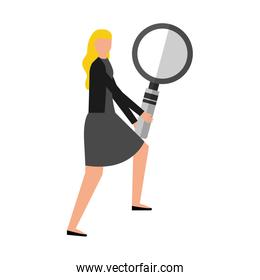 business woman with magnifying glass