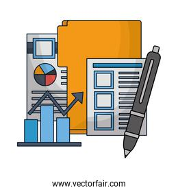 business folder pen diagram and papers