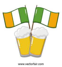 isolated two beer glasses beverages