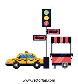 taxi traffic light arrows food booth