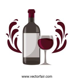 wine bottle glass cup splashes