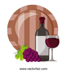 wine bottle cup barrel and grapes