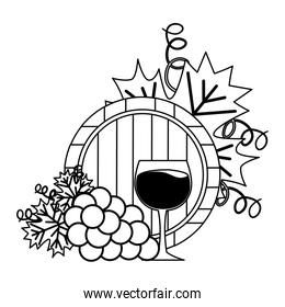 wine cup barrel and grapes