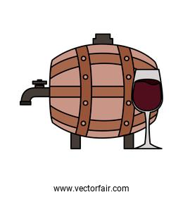 wine wooden barrel and glass cup