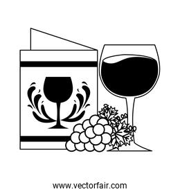 wine cup grapes and restaurant menu