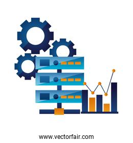 database server chart and gears