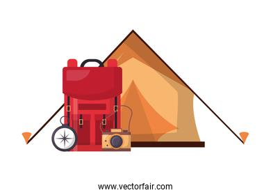 tent backpack camera compass camping