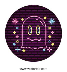 ghost video game neon