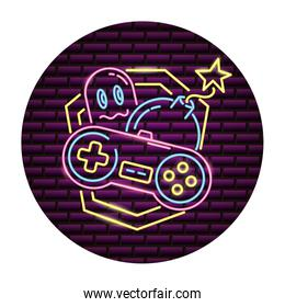 ghost control video game neon