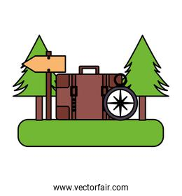 camping backpack compass trees