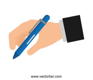 hand with office pen