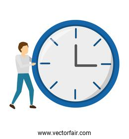 businessman with round clock isolated icon