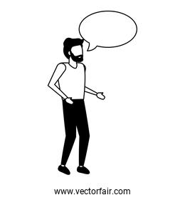 man standing with speech bubble