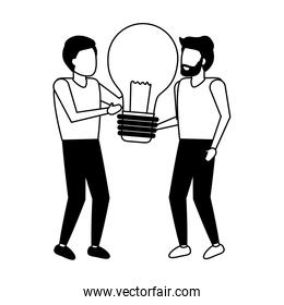 business men holding bulb