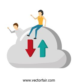 man and woman with cloud computing