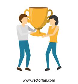 business man and woman holding trophy