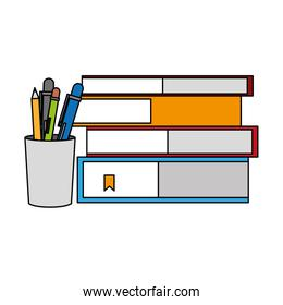 stacked books and pencils supplies