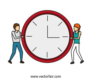 man and women with clock time