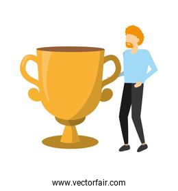 businessman and trophy