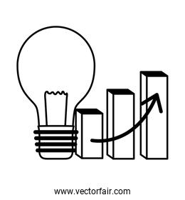 business report diagram and bulb