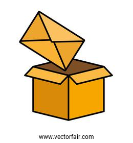 isolated cardboard box email envelope