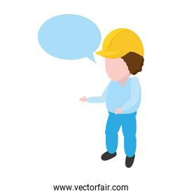 worker with hardhat and speech bubble