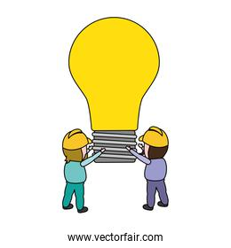 workers holding bulb creativity