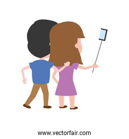 back view couple taking selfie