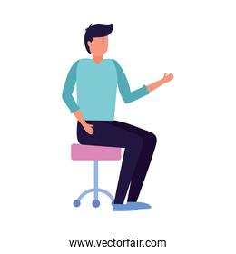 man sitting on office chair