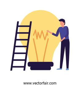 faceless businessman with stairs and bulb