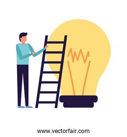 businessman with stairs and bulb
