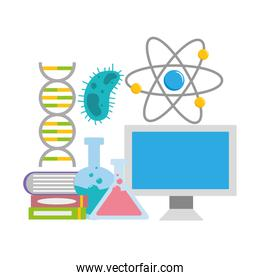 computer with flasks, molecule and books