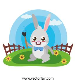 cute rabbit with carrot