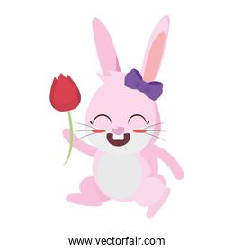 beautiful rabbit with rose flower easter character