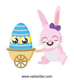 beautiful rabbit with chick in wheelbarrow easter character