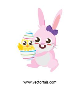 beautiful rabbit with chick born easter character