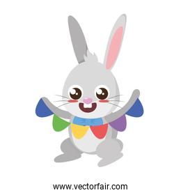beautiful rabbit with garland easter character