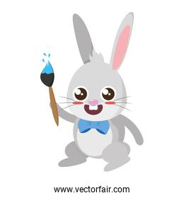 beautiful rabbit with paint brush easter character