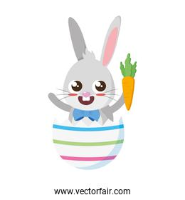 beautiful rabbit with carrot in egg shell