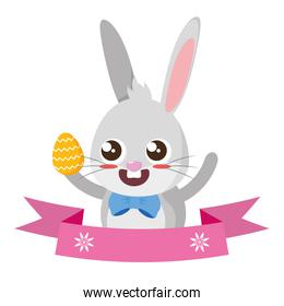 beautiful rabbit with egg painted easter character