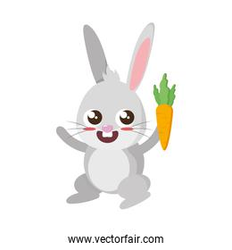 beautiful rabbit with carrot easter character