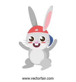 beautiful rabbit with cap easter character